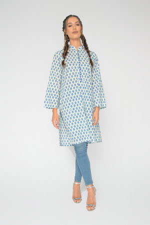 Blue Jaipur Collar Tunic