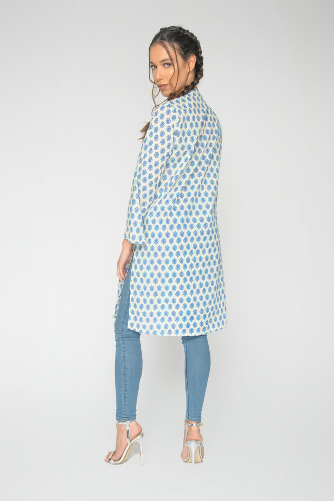 Load image into Gallery viewer, Blue Jaipur Collar Tunic