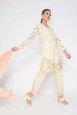 Peach Lace Tunic Suit