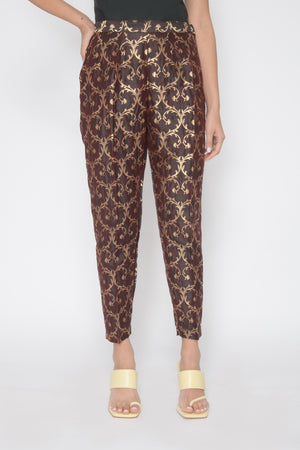 Load image into Gallery viewer, Deep Plum Brocade Trousers
