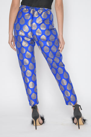 Deep Blue Brocade Trousers