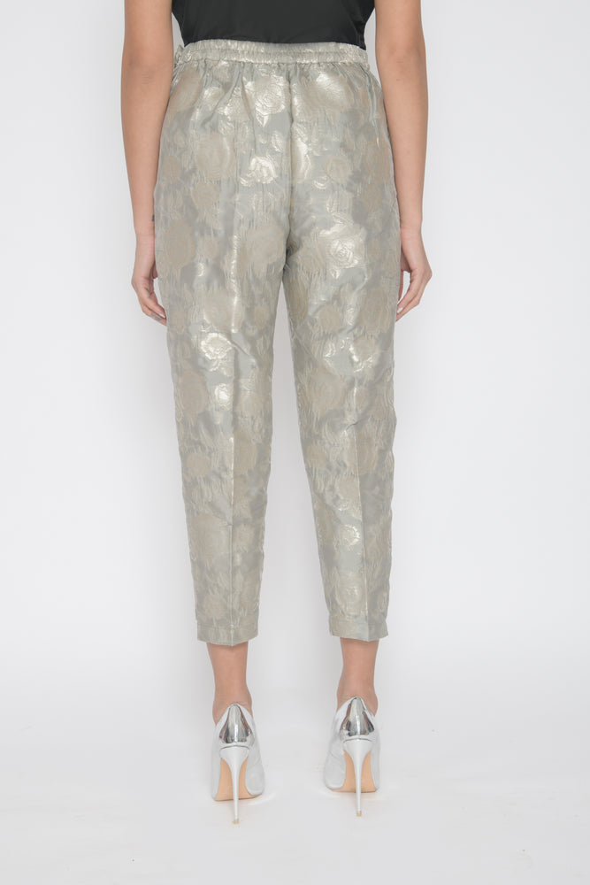 Load image into Gallery viewer, Silver Brocade Trousers