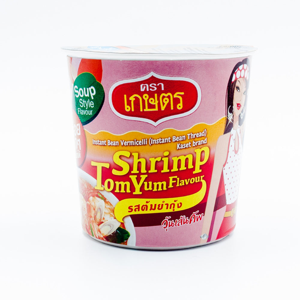 Kaset Instant Quick Meal Bean Vermicelli Shrimp Tom Yum Flavour 35g. (Pack of 6)