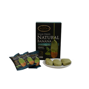 Jiraporn Solar Dried Natural Banana Dipped Green Tea 250g. (2 packages)