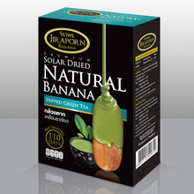 Load image into Gallery viewer, Jiraporn Solar Dried Natural Banana Dipped Green Tea 250g. (2 packages)