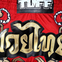 Load image into Gallery viewer, TUFF Muay Thai Boxing Shorts Red Retro Style Double Tiger With Gold Text