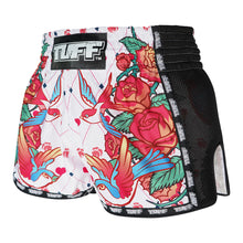 Load image into Gallery viewer, TUFF Muay Thai Boxing Shorts White Retro Style Rose With Birds