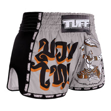 Load image into Gallery viewer, TUFF Muay Thai Boxing Shorts New Retro Style Grey Hanuman Yantra with War Flag