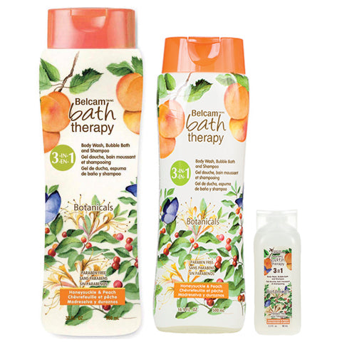 Belcam Bath Therapy Botanicals 3-in-1 Body Wash, Bubble Bath and Shampoo Honeysuckle & Peach