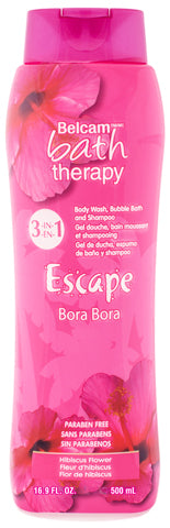 Belcam Bath Therapy Escape 3-in-1 Body Wash, Bubble Bath and Shampoo Hibiscus