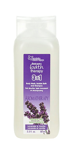 Belcam Bath Therapy Relax 3-in-1 Body Wash, Bubble Bath and Shampoo Lavender & Vanilla 98 mL-3 fl oz