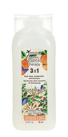 Belcam Bath Therapy Botanicals 3-in-1 Body Wash, Bubble Bath and Shampoo Honeysuckle & Peach 98 mL-3 fl oz