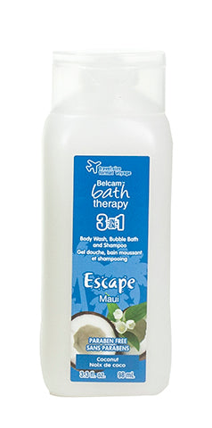 Belcam Bath Therapy Escape 3-in-1 Body Wash, Bubble Bath and Shampoo Maui Coconut 98 mL-3 fl oz