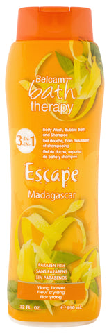 Belcam Bath Therapy Escape 3-in-1 Body Wash, Bubble Bath and Shampoo Madagascar Ylang