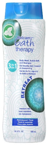 Belcam Bath Therapy 3-in-1 Body Wash, Bubble Bath & Shampoo Peppermint Teak