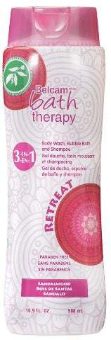 Belcam Bath Therapy 3-in-1 Body Wash, Bubble Bath & Shampoo Sandalwood