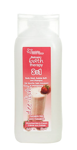 Belcam Bath Therapy dee-lish 3-in-1 Body Wash, Bubble Bath and Shampoo Strawberries-n-Cream 98 mL/3 fl oz