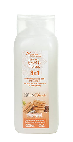 Belcam Bath Therapy Paris Sweets 3-in-1 Body Wash, Bubble Bath & Shampoo Sea Salt & Caramel 98 mL/3 fl oz