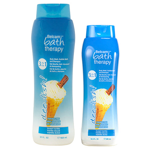 Belcam Bath Therapy dee-lish 3-in-1 Body Wash, Bubble Bath and Shampoo Sweet Vanilla
