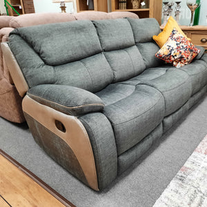 Caldero 3 Seater Reclining Sofa - Grey Fabric