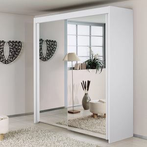 Sliding door white mirrored wardrobe