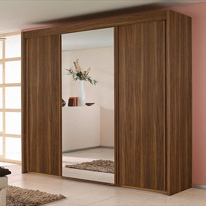 Sliding door walnut mirrored wardrobe
