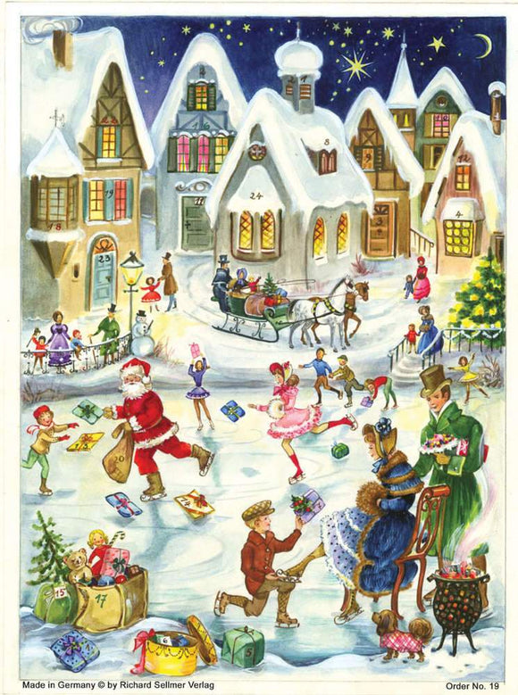 Medium Traditional German Advent Calendars - Old World Scenes with Santa
