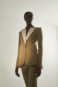 Contrast single breastead tailored jacket in sage and cream