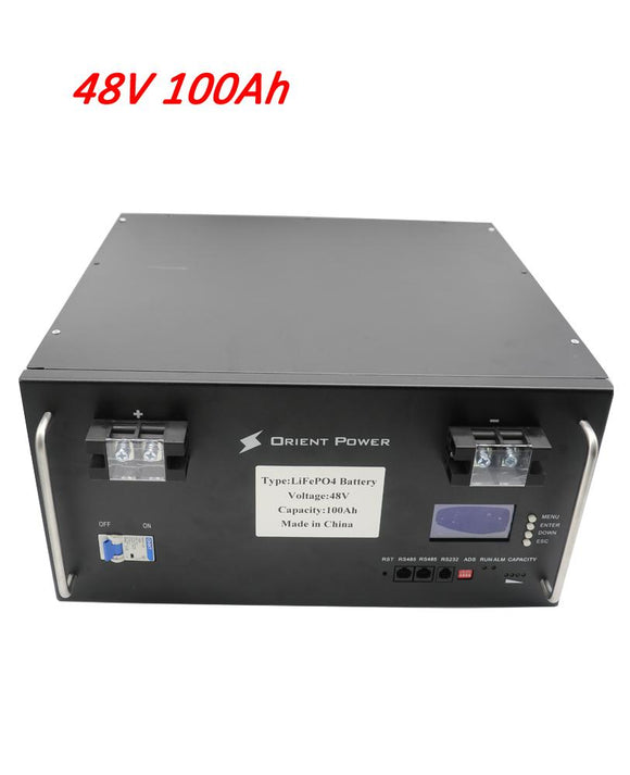 48V 100AH LIFEPO4 LITHIUM-IRON-BATTERY PACK WITH BMS AND LCD DISPLAY