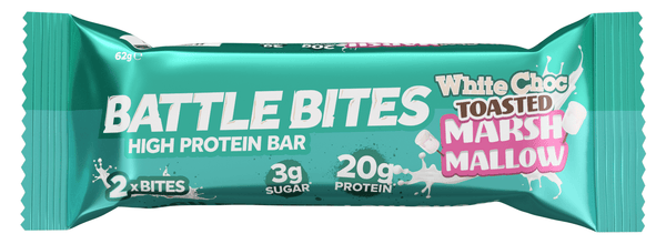 Battle Snacks Battle Bites White Chocolate Toasted Marshmallow Protein Bar - Protein Parcel