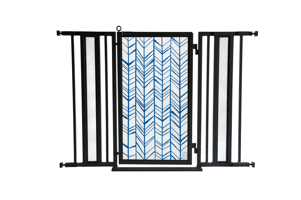 "36"" - 52"" Chevron Trail in Blue Fusion Gate, Black Finish"