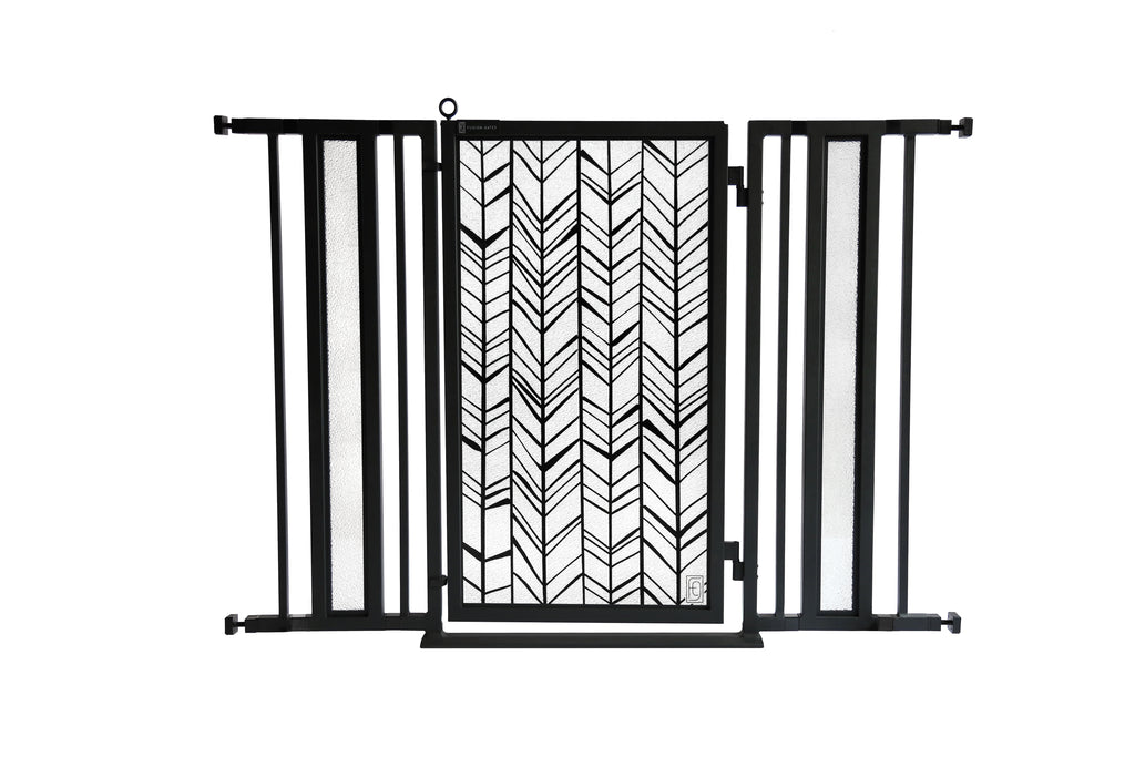 "36"" - 52"" Chevron Trail Fusion Gates, Black Finish"