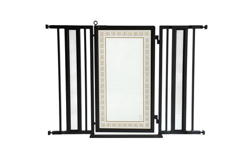 "36"" - 52"" Greek Key Fusion Gate, Black Finish"