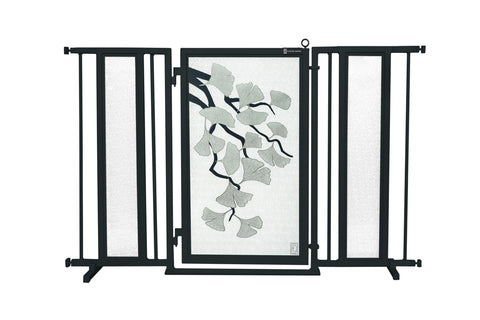"52"" - 60"" Greek Key Fusion Gate, White Pearl Finish"