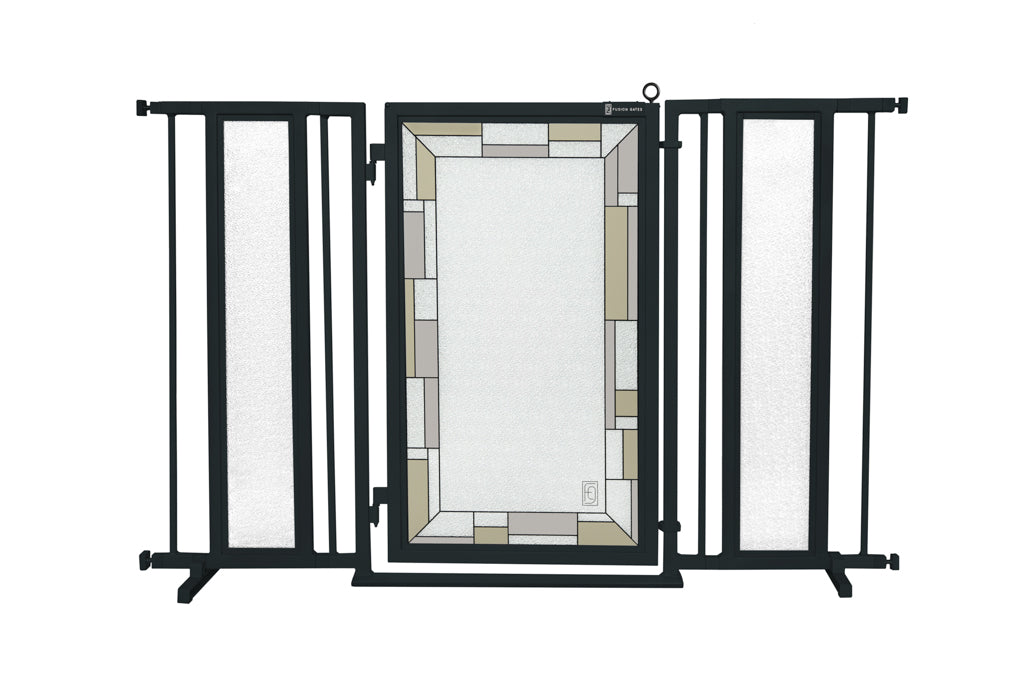 "52"" - 60"" Bauhaus Border Fusion Gate, Black Finish"
