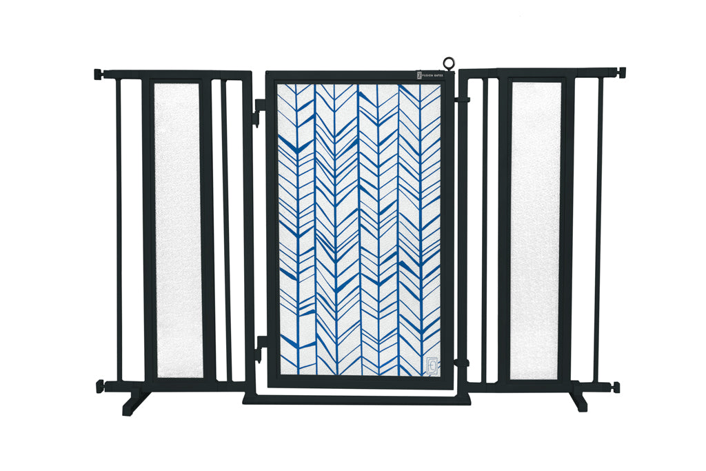 "52"" - 60"" Chevron Trail in Blue Fusion Gate, Black Finish"