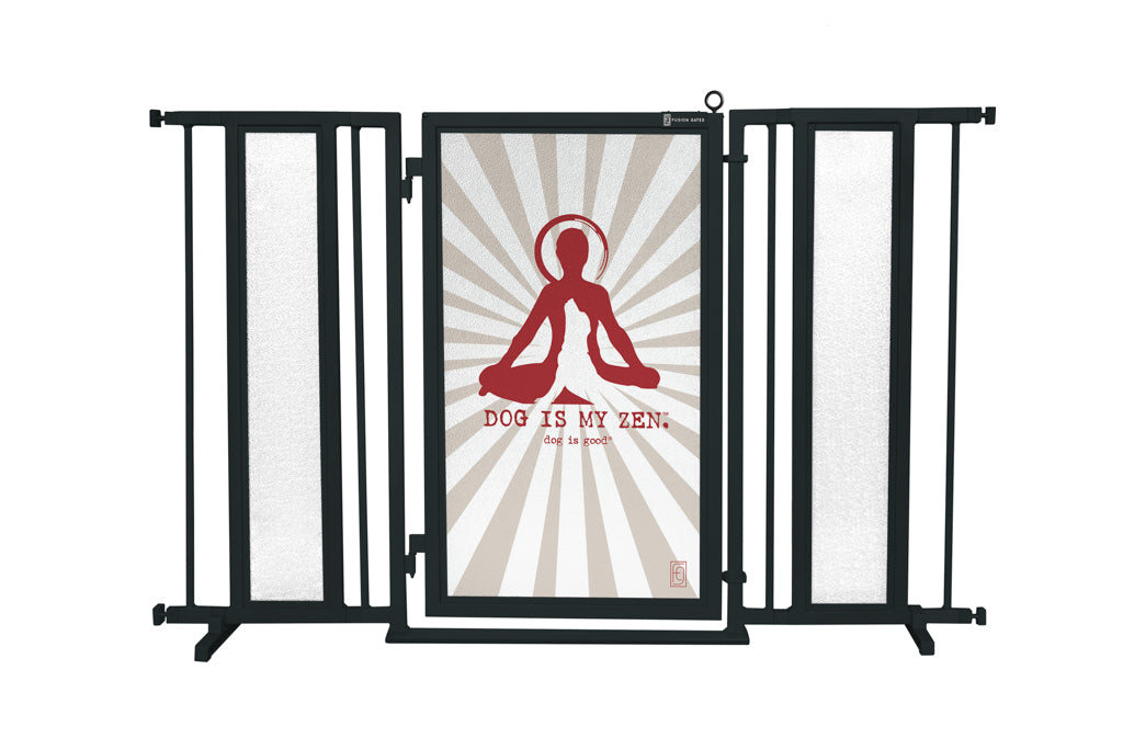 "52"" - 60"" Dog Is My Zen Fusion Gate, Black Finish"