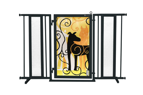 "52"" - 60"" Bauhaus Border Fusion Gate, Satin Nickel Finish"