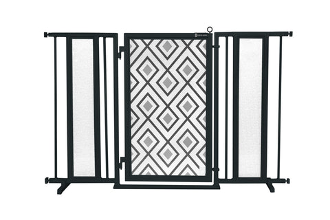 "52"" - 60"" Gray Diamonds Fusion Gate, Black Finish"