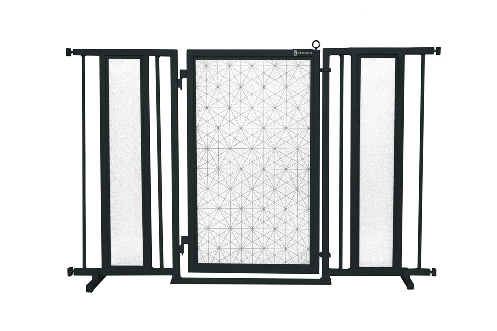 "52"" - 60"" Linear Lace Fusion Gate, Black Finish"