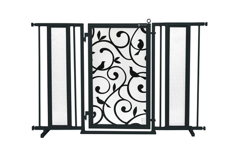 "52"" - 60"" Greek Key Fusion Gate, Black Finish"