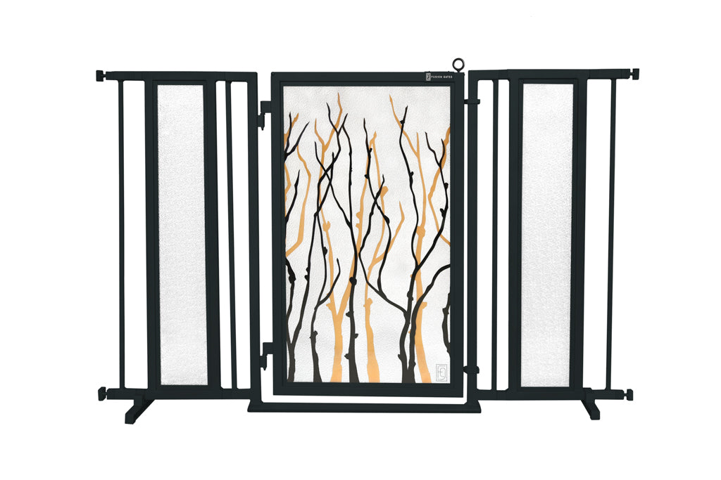 "52"" - 60"" Willow Branches Fusion Gate, Black Finish"