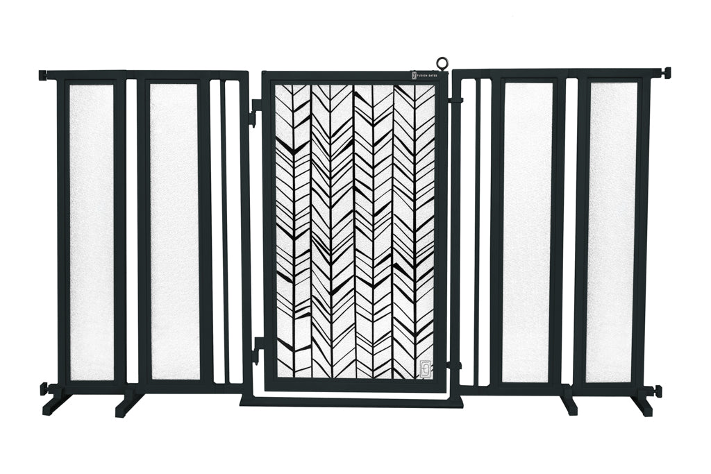 "71.5"" - 74"" Chevron Trail Fusion Gate, Black Finish"