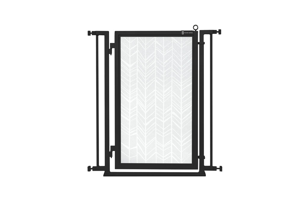 "32"" - 34"" Chevron Trail in White Fusion Gate, Black Finish"