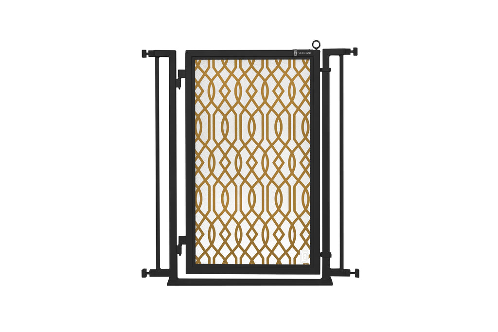 "32"" - 34"" Gold Lattice Fusion Gates, Black Finish"