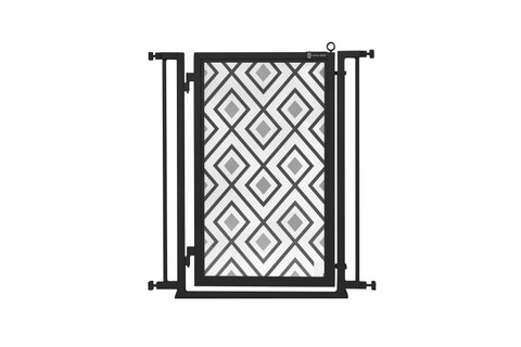 "32"" - 34"" Gray Diamonds Fusion Gate, Black Finish"
