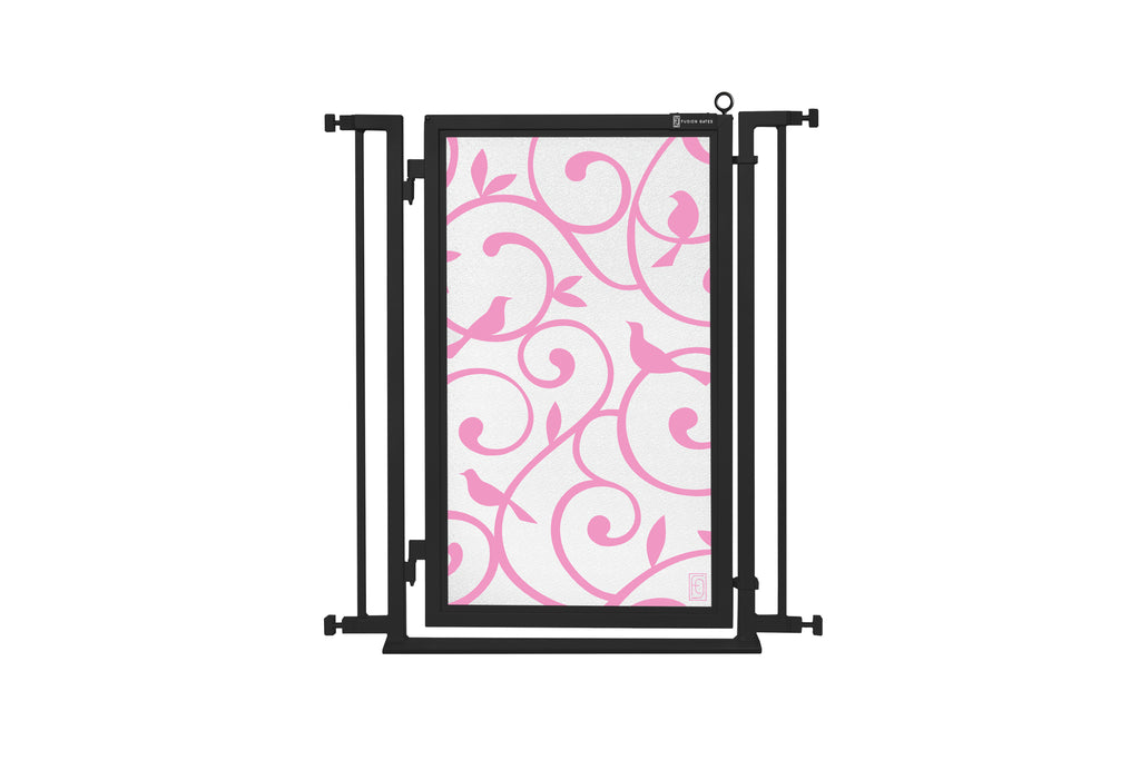"32"" - 34"" Songbirds in Pink Fusion Gate, Black Finish"