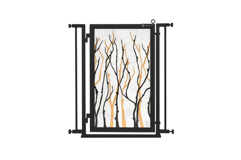 "32"" - 34"" Willow Branches Fusion Gate, Black Finish"