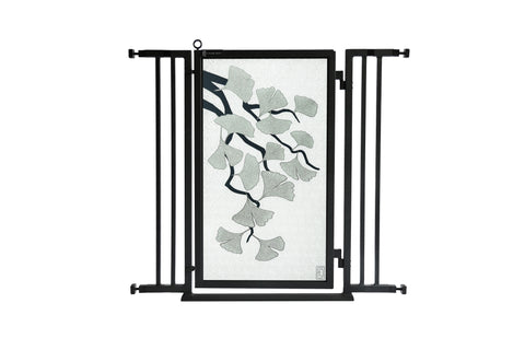 "32"" - 36"" Dog Is My Zen Fusion Gate, Satin Nickel Finish"