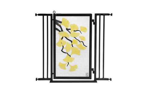 "32"" - 36"" Autumn Ginkgo Fusion Gate, Satin Nickel Finish"